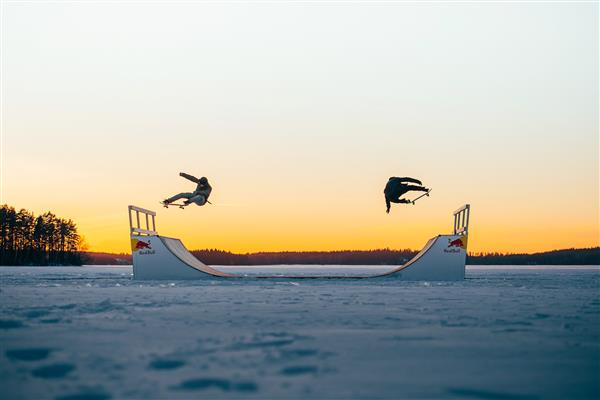 Throwback to 2018 - Finnish duo skate hard on breathtaking frozen lake carousel