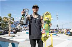 Nyjah Huston at the top of the SLS Nike SB Pro Open podium in Barcelona