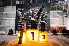 muuuy happy! 3a en la Copa del Mundo FIS de Big Air en Quebec!! felicidades a esas dos maquinas Jamie Anderson y Katie Ormerod por el 1o y segundo puesto